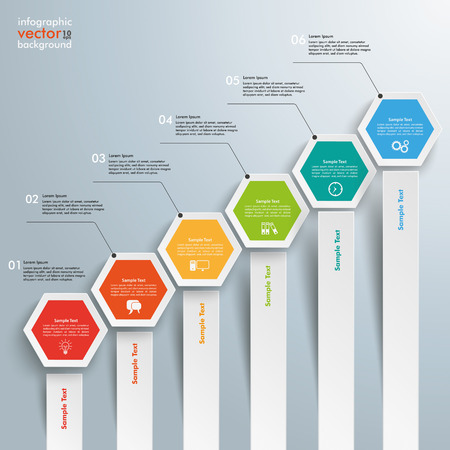 comb out: Infographic with hexagons on the grey background. Eps 10 vector file.