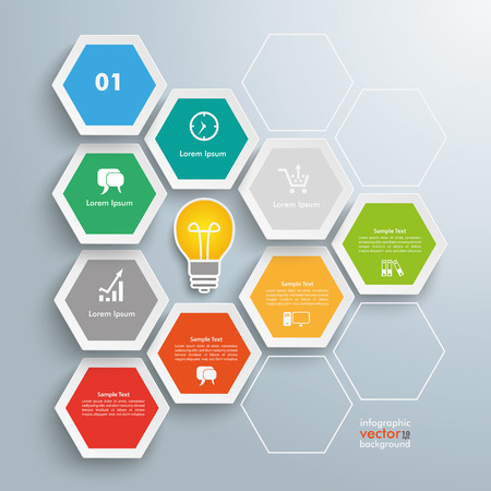 comb out: Infographic with hexagons on the gray background. Eps 10 vector file.
