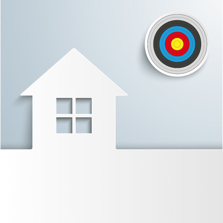 eps 10: White house with target on the gray background. Eps 10 vector file.