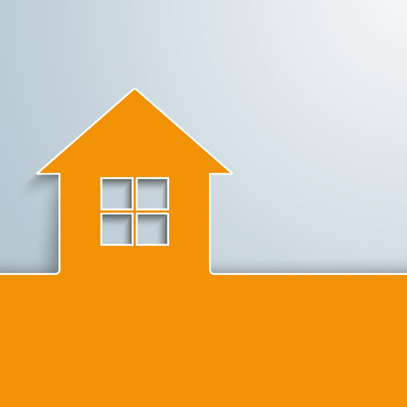 Orange house with window on the gray background. Eps 10 vector file.