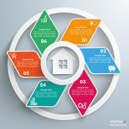 Infographic design with rhombus and house on the gray background. Eps 10 vector file.