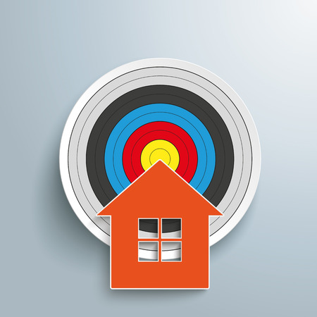 hypothec: House with target on the gray background. Eps 10 vector file.