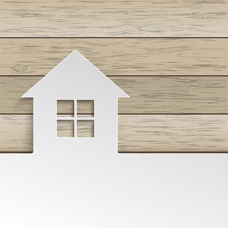 White paper house with window on the wooden background. Eps 10 vector file.
