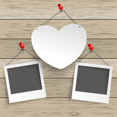 Paper heart with tack and instant pictures on the wooden background. Eps 10 vector file.