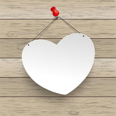 připínáček: Papírové srdce s připínáček na dřevěném pozadí. Eps 10 vektorový soubor.