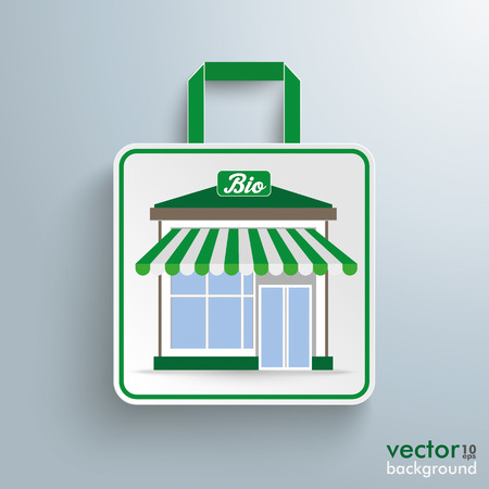 eps 10: White paper shopping bag with bioshop on the gray background. Eps 10 vector file.