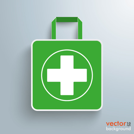 White paper shopping bag with white cross on the gray background. Eps 10 vector file. Illustration