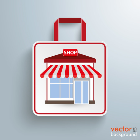 onlineshop: White paper shopping bag with shop on the grey background. Eps 10 vector file.