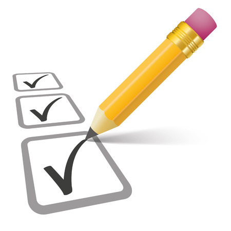 examiner: Pencil with shadow and checklist on the white. Eps 10 vector file.