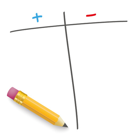 examiner: Pencil with pro and contra list on the white. Eps 10 vector file.
