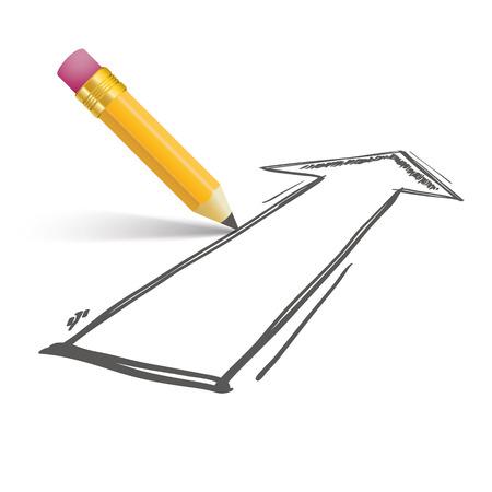 booster: Crayon avec l'ombre et la fl�che sur le blanc. Eps 10 fichier vectoriel.
