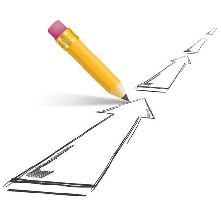 booster: Crayon avec des ombres et des fl�ches sur le blanc. Eps 10 fichier vectoriel.