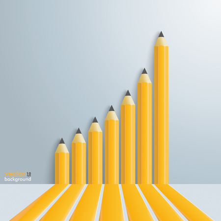 booster: Infographic template with growing pencils chart on the gray background. Eps 10 vector file.