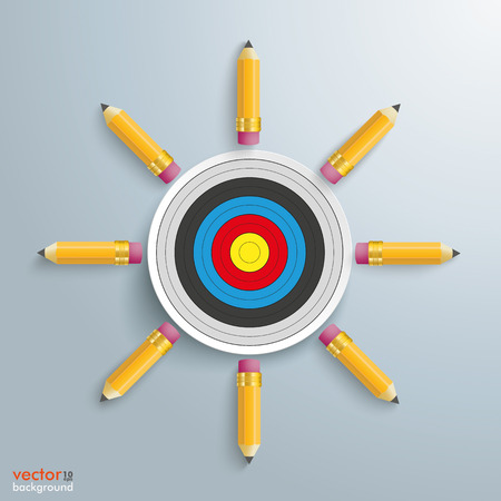 check book: Pencils with target on the gray background. Eps 10 vector file.