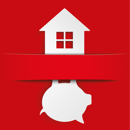 fonds: House with piggy bank and with red banner, on the red background. Eps 10 vector file.