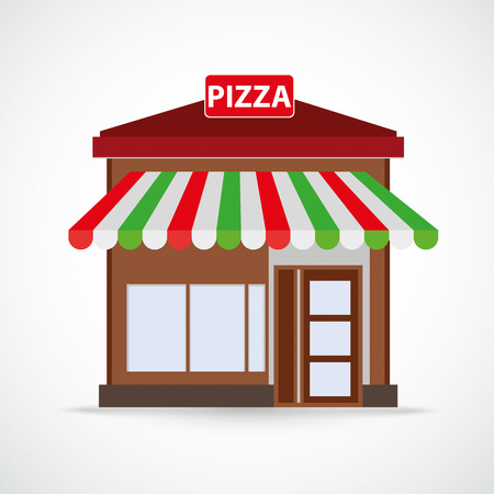 Pizza restaurant building on the gray background.Eps 10 vector file. Stock Illustratie