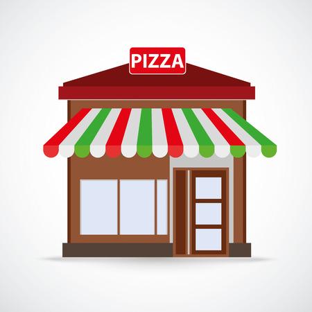 Pizza Restaurantgebäude auf dem grauen background.eps 10 Vektor-Datei. Standard-Bild - 37386623