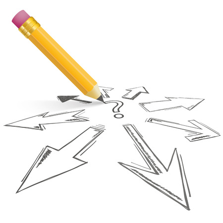 challange: Question mark with arrows and pencil on the white background. Eps 10 vector file.