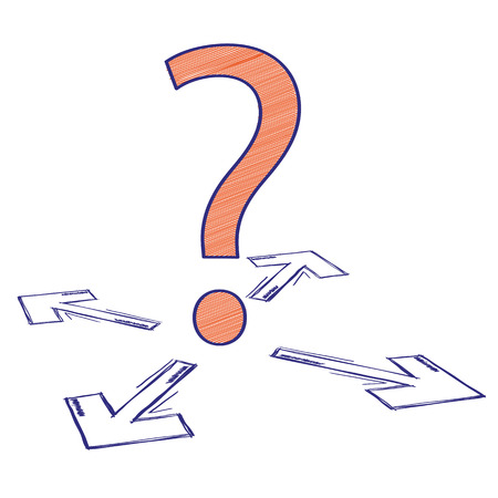 challange: Question mark with 4 arrows on the white background. Eps 10 vector file. Illustration