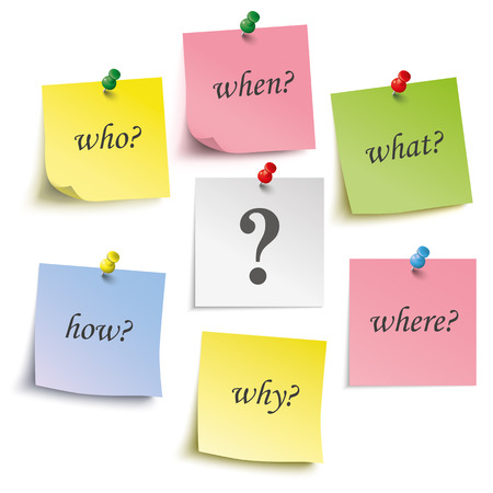 thumb tack: Colored sticks with questions and pins on the white background. Eps 10 vector file.