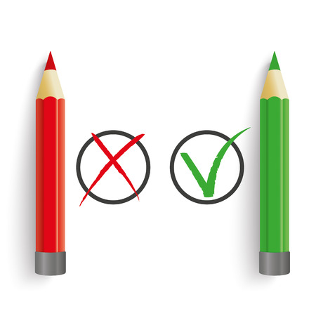 examiner: Pro and contra list with pens on the white. Eps 10 vector file.