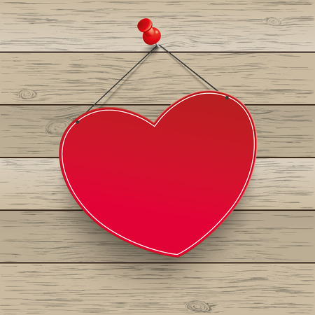 tack: Paper heart with tack on the wooden background. Eps 10 vector file.