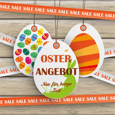 ten empty: Price sticker with german text Oster Angebot and Nur fuer kurze Zeit, translate Easter Offer and limited time only.. Eps 10 vector file.