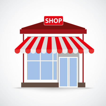onlineshop: Shop building on the gray background.Eps 10 vector file.
