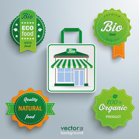 onlineshop: White paper shopping bag with bioshop on the gray background. Eps 10 vector file.