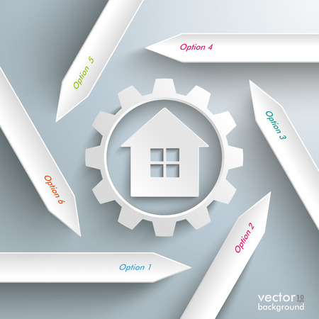 iterative: Infographic with white arrows, gear and house on the grey background. Eps 10 vector file. Illustration