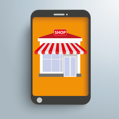 onlineshop: Smartphone with shop on the gray background. Eps 10 vector file.