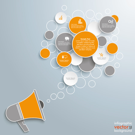 voice message: Speech bubble circles with bullhorn on the gray background. Eps 10 vector file. Illustration