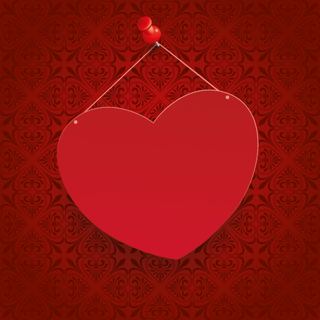 thumb tack: Ornaments with heart on the red background. Eps 10 vector file.