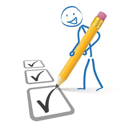 Stickmen met potlood en checklist op de witte achtergrond. Eps 10 vector bestand.