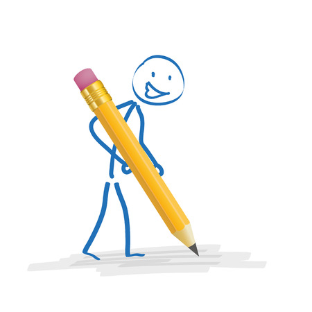 Stickmen with pencil on the white background. Eps 10 vector file. Çizim