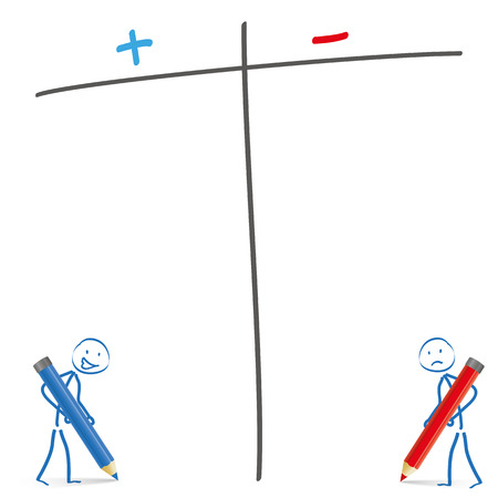 Stickmen with pencils and pro and contra list on the white background. Eps 10 vector file. Vector