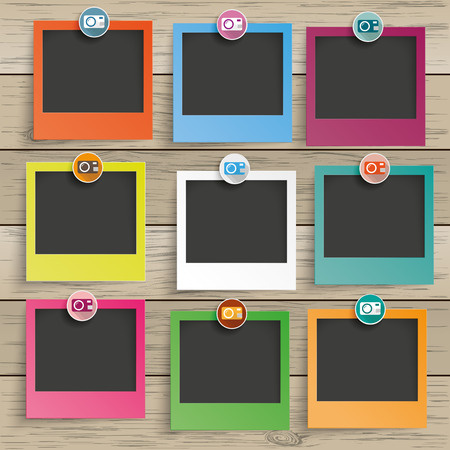 label frame: 9 photo frames with camera icons on the wooden background. Eps 10 vector file. Illustration