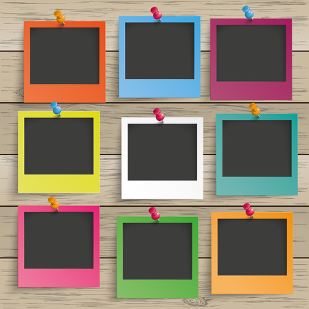 thumb tack: 9 colored photo frames on the wooden background. Eps 10 vector file.
