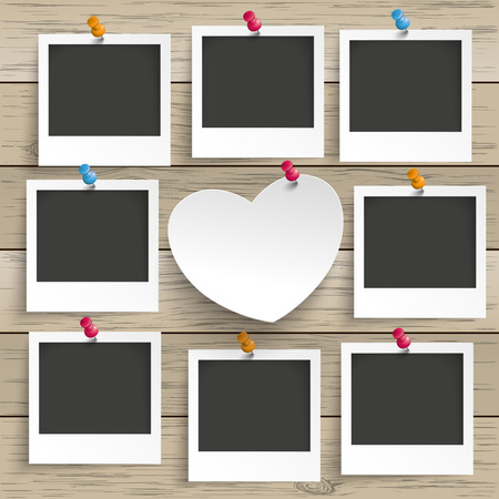 9 photo frames with white paper heart on the wooden background. Eps 10 vector file.