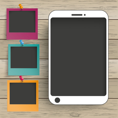 thumb tack: Smartphones with photo frames on the wooden background. Eps 10 vector file. Illustration