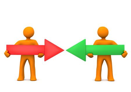 examiner: Orange cartoon characters with 2 arrows.