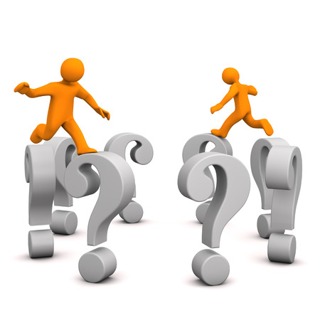 questionable: Orange cartoon characters with gray question marks.  Stock Photo