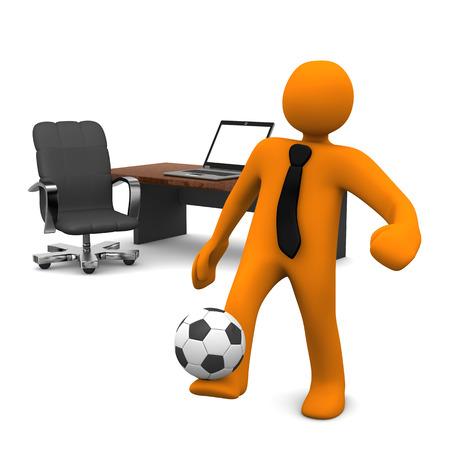 Orange Cartoon-Figur mit schwarzer Krawatte und Fußball im Büro.