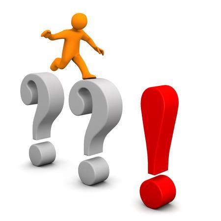 point d interrogation: Personnage de dessin anim� orange avec des points d'interrogation gris et rouge criard. Banque d'images