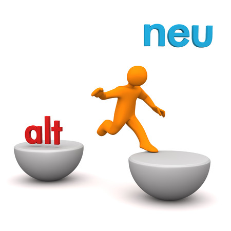 alt: Orange cartoon character with german text alt and neu, translate old and new. Stock Photo