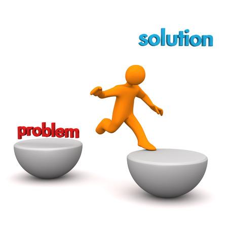 """Orange Cartoon-Figur mit dem Text """"Problem"""" und """"Lösung"""". Standard-Bild - 37533080"""