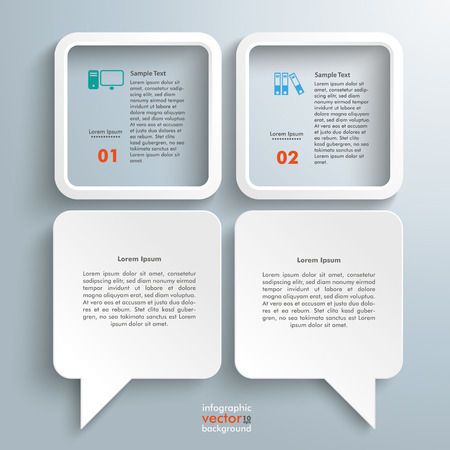 two objects: 2 rectangle speech balloons with 2 squares on the gray background. Eps 10 vector file.