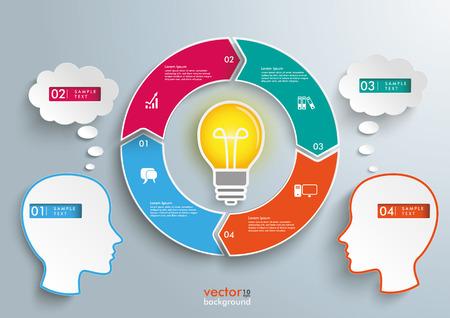 burbujas de pensamiento: Infograf�a con 2 cabezas, anillo de ciclo y burbujas de pensamiento en el fondo gris. Eps 10 archivos de vectores.