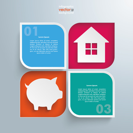 fonds: Template rectangles design with piggy bank and house on the gray background. Eps 10 vector file.