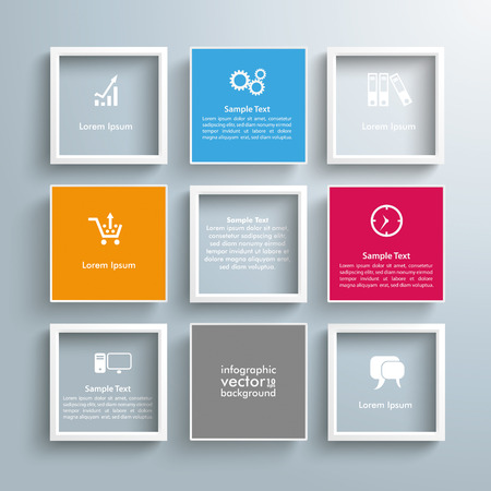 Infographic design with squares on the gray background. Eps 10 vector file. Vettoriali